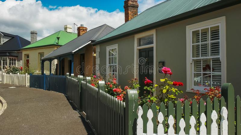 HOBART, AUSTRALIA- DECEMBER, 21, 2016: row of old cottages at arthur circus in battery point, tasmania. HOBART, AUSTRALIA- DECEMBER, 21, 2016: row of old stock images