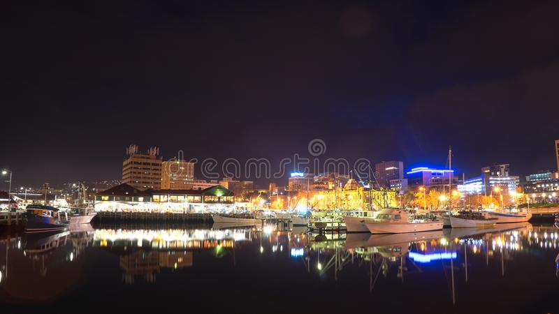 Hobart City At Night Time imagens de stock