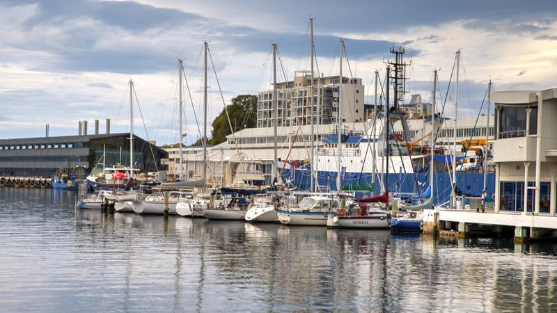 Hobart Harbour fotografering för bildbyråer