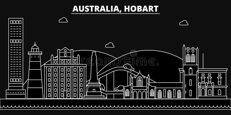 Hobart konturhorisont Australien - Hobart vektorstad, australisk linjär arkitektur, byggnader Hobart lopp stock illustrationer