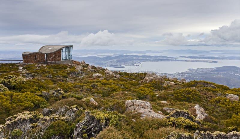 Hobart Mt Wellington Hut Lookout foto de stock royalty free