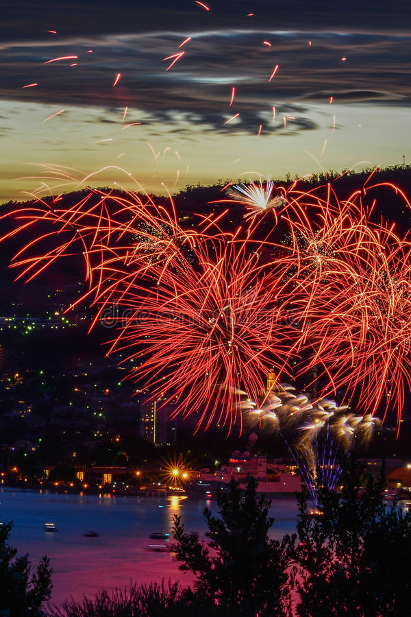 Hobart New Years Eve fire works 1 royalty free stock photo
