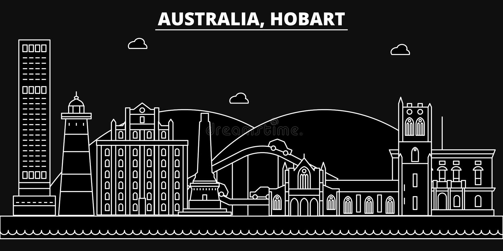 Hobart silhouette skyline. Australia - Hobart vector city, australian linear architecture, buildings. Hobart travel stock illustration