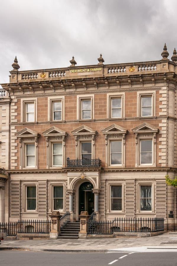 Hobart, Tasmanige, Australië - December 14, 2009: close-up en frontale mening van de historische bouw, de wetsbureaus van Derwent royalty-vrije stock afbeelding