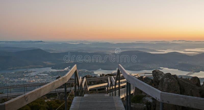 Hobart vom Berg Wellington Dawn Viewpoint lizenzfreies stockbild