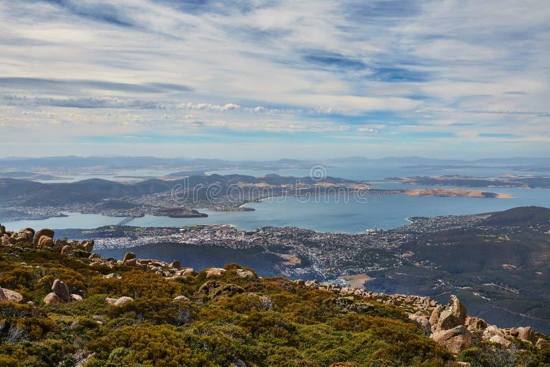 Hobart von oben stockfotografie