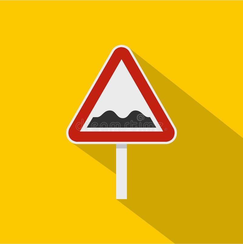 Hobbelig verkeerstekenpictogram, vlakke stijl vector illustratie