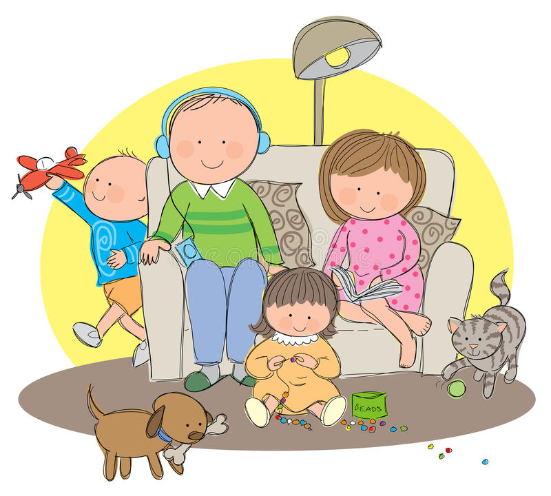 Hobbies. Hand drawn picture of a family enjoying their own hobbies. Illustrated in a loose style. Vector eps available