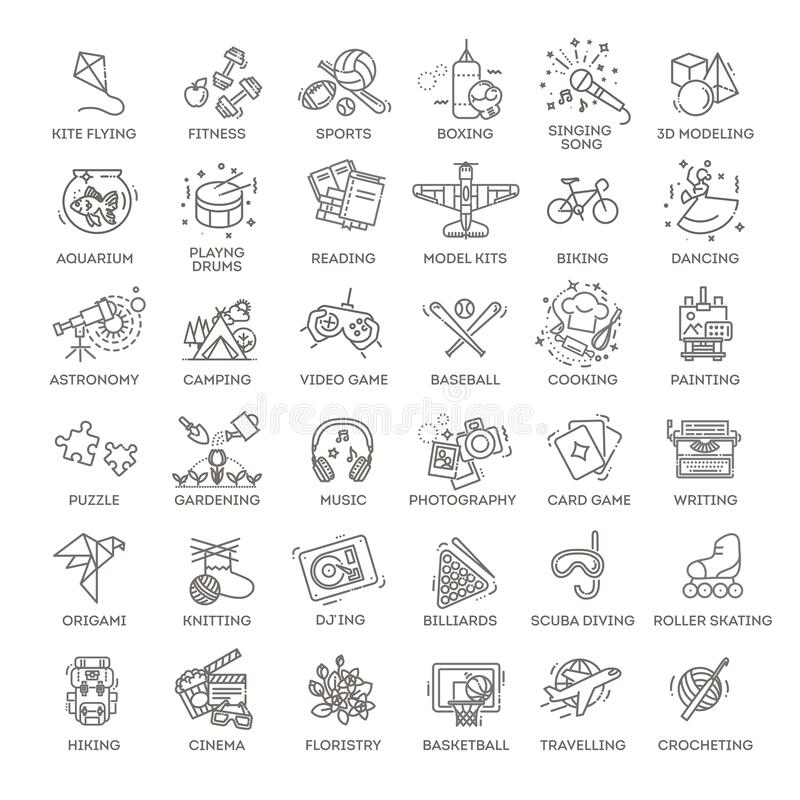 Free Hobbies And Interest Detailed Line Icons Set In Modern Line Icon Style Stock Photo - 180708090