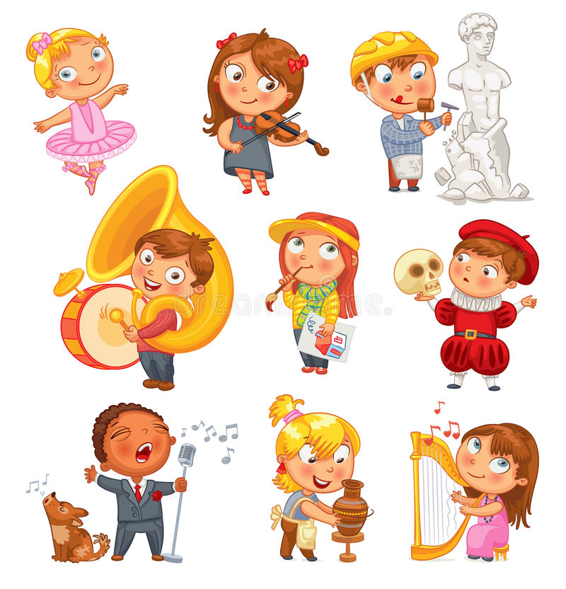 Hobbies. Funny cartoon character royalty free illustration