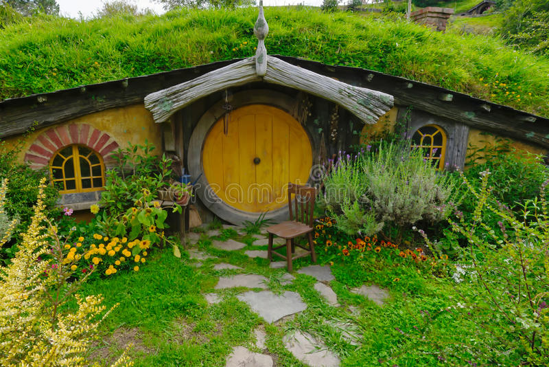 Hobbit Haus hobbit house with yellow door editorial stock image image of