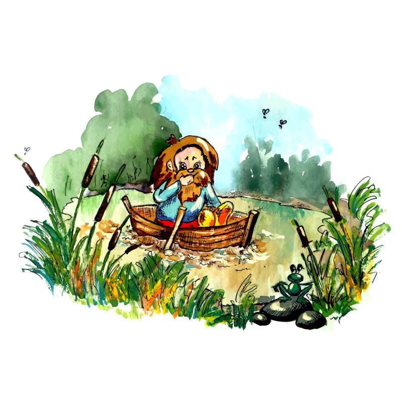 Hobbit no barco ilustração do vetor