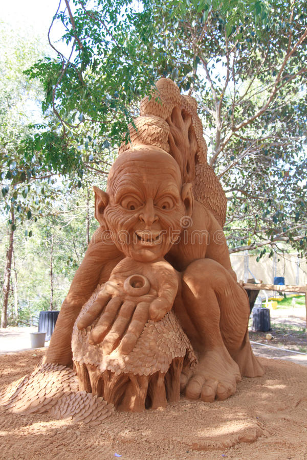 The hobbit sand sculptor royalty free stock photo