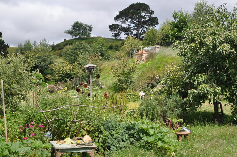 Hobbit village and garden. Hobbiton. Matamata. New Zealand royalty free stock image