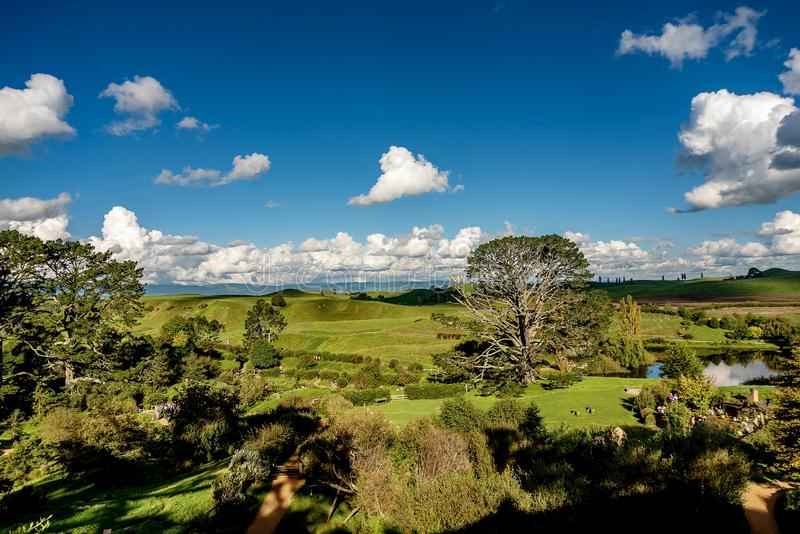 Hobbiton movie set created for filming The Lord of the Rings an. D The Hobbit movies in North Island of New Zealand stock images
