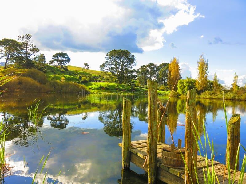 Hobbitton, Nuova Zelanda fotografia stock libera da diritti