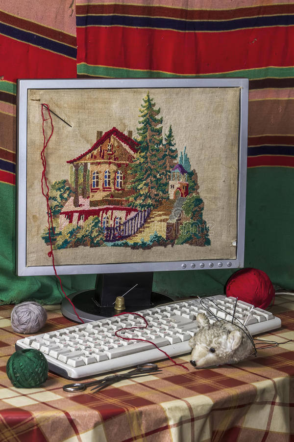 Download Hobby stock photo. Image of embroidery, screen, needle - 23571522