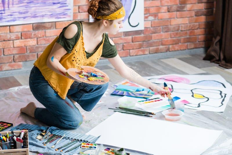 Hobby artysty rekreacyjny leworęki obraz zdjęcia stock