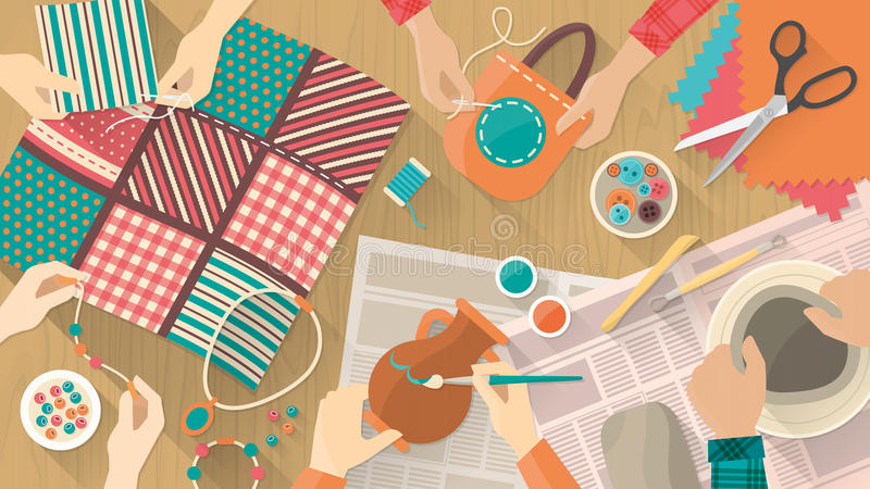 Hobby and crafts banner. People working on different projects, ceramics, painting, sewing, quilting and jewelry, hands top view vector illustration