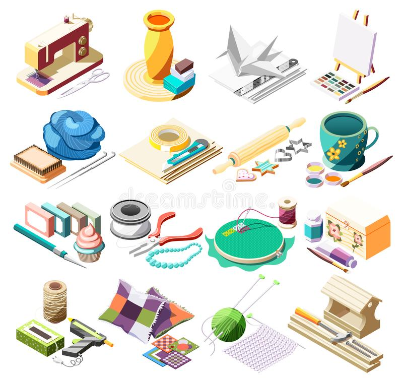 Hobby Crafts Isometric Icons Set. With tools for sewing pottery painting cooking origami patchwork 3d isolated vector illustration stock illustration