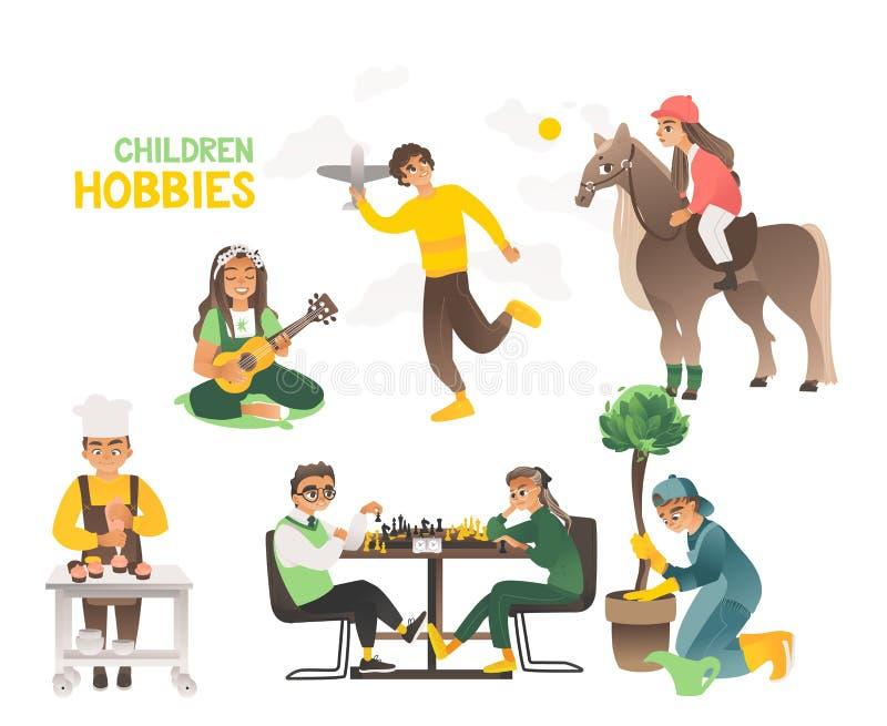 Hobby dzieci i nastolatkowie, szczęśliwy dzieciństwo ilustracji