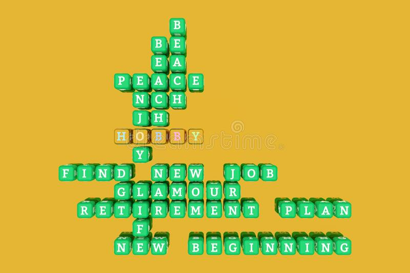 Hobby, happy keyword crossword. For web page, graphic design, texture or background. 3D rendering. stock illustration