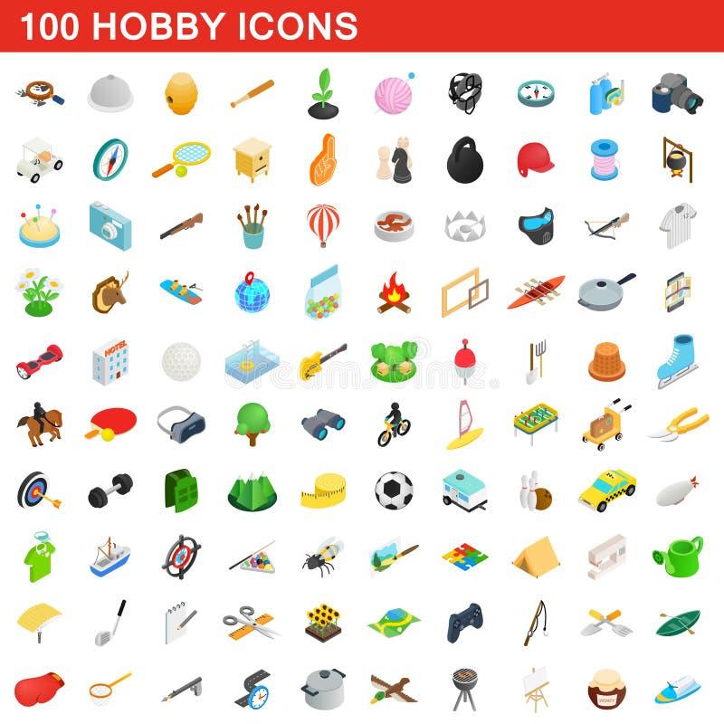 100 hobby icons set, isometric 3d style royalty free illustration