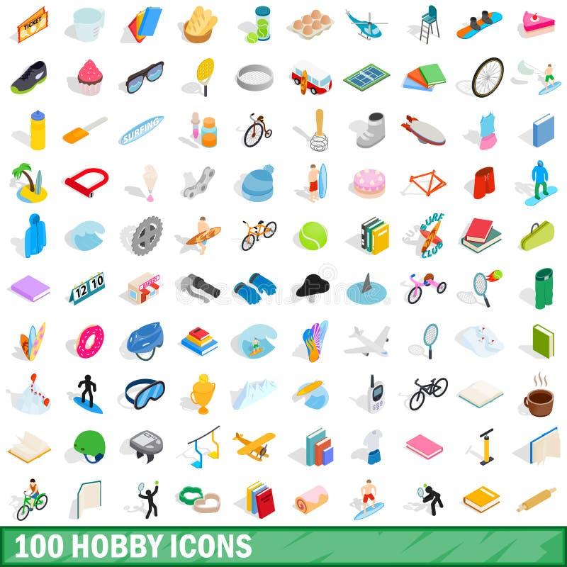 100 hobby ikon ustawiających, isometric 3d styl royalty ilustracja