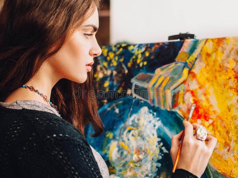 Hobby leisure painter creating abstract artwork royalty free stock photo
