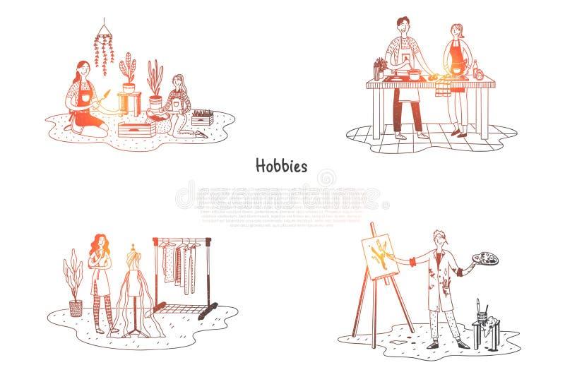 Hobby - ludzie bierze opiekę rośliny, kucharstwo, obraz, projektuje odzieżowego wektorowego pojęcie set ilustracji
