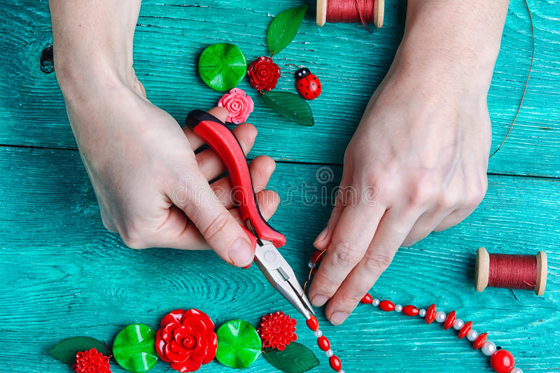 Hobby making jewelry stock photography