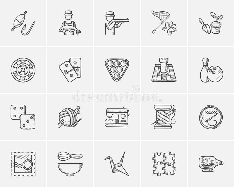 Hobby nakreślenia ikony set royalty ilustracja