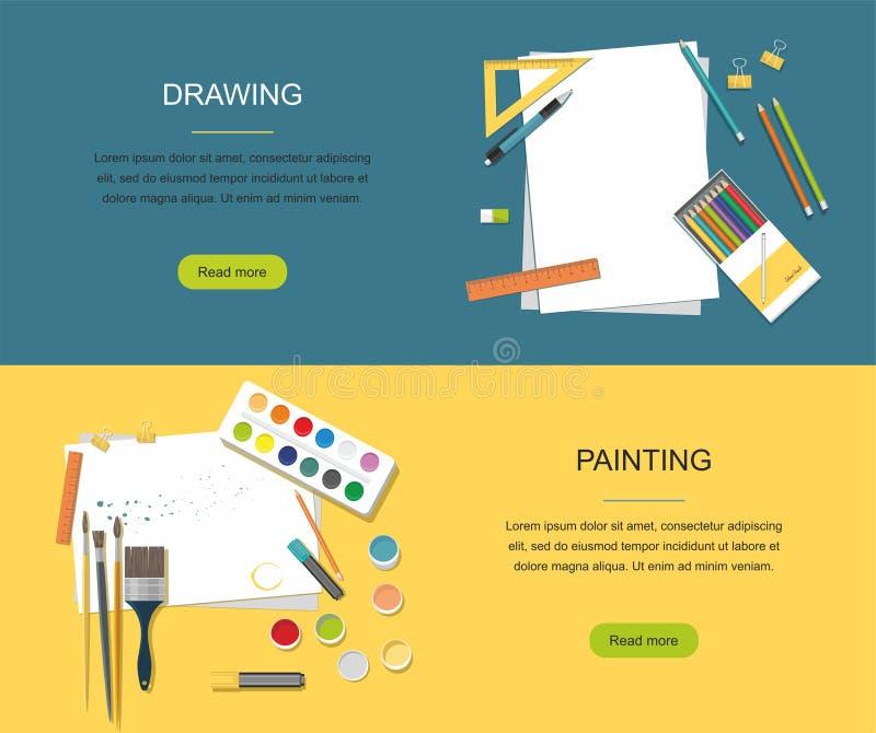 hobby Obraz, Rysunkowy sieć sztandar Farby, muśnięcia, ołówki tylna szkoły royalty ilustracja
