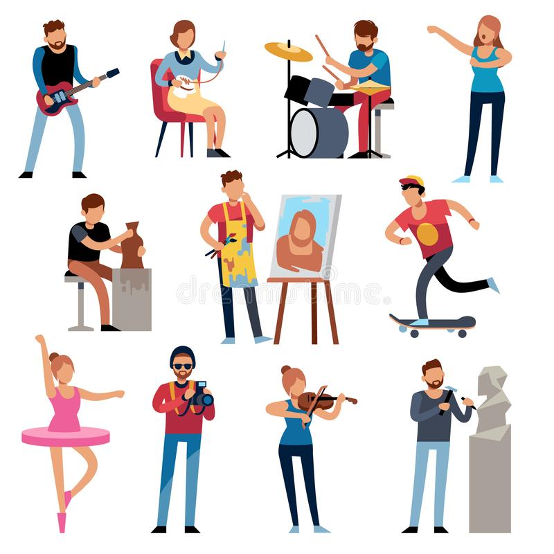 Hobby persons. People of creative professions at work. Artistic occupations, retro hobbies cartoon characters vector set royalty free illustration