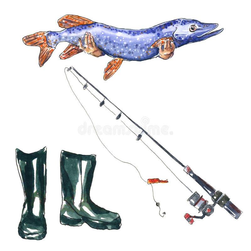 Hobby połowu set Gumowi buty, świeża złapana szczupak ryba, połowu prącie R?ka rysuj?ca akwareli ilustracja ilustracji