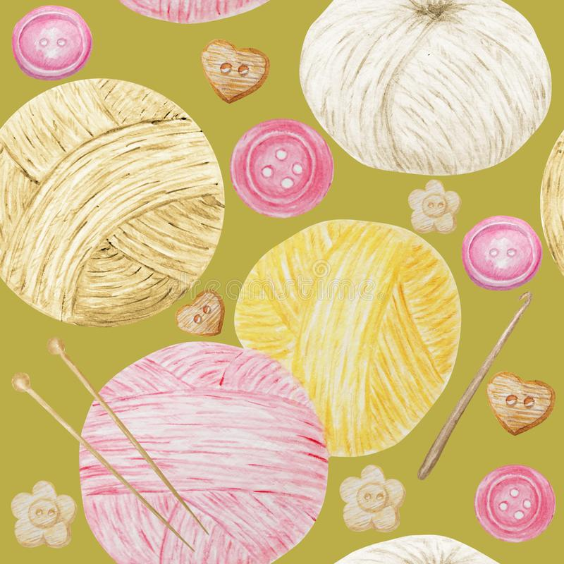 Hobby senza cuciture del modello dell'acquerello che tricotta e che lavora all'uncinetto, filato di lana sveglio Raccolta di gial immagine stock libera da diritti