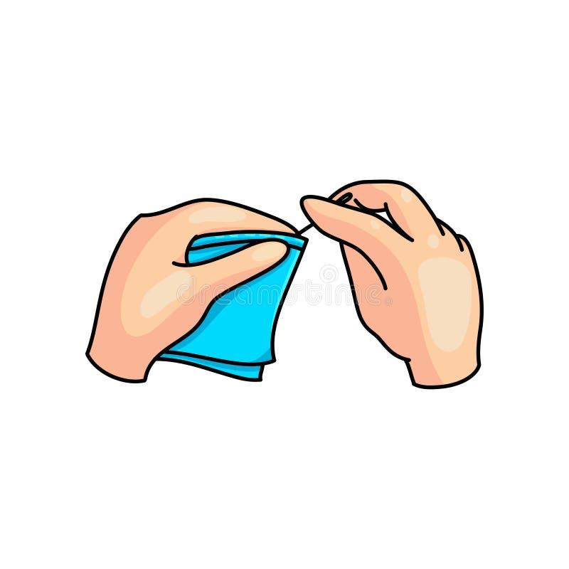 Hobby szy błękitnego tekstylnego materiał w dzieciak rękach royalty ilustracja