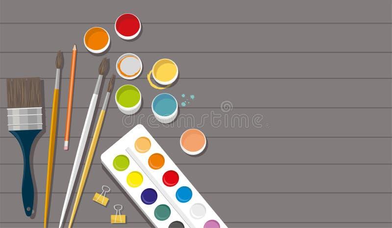 hobby Verven, borstels, potloden, pen Terug naar School Houten achtergrond royalty-vrije illustratie