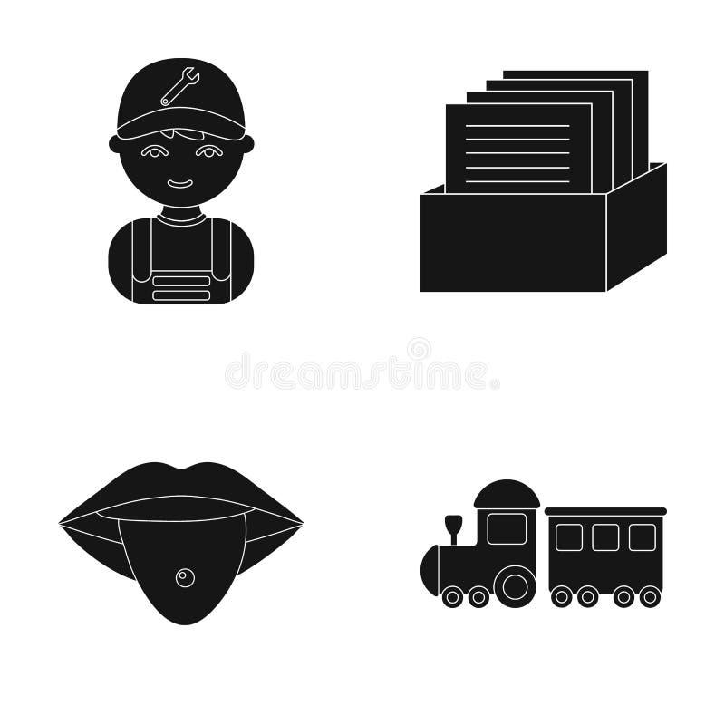 Hobby, yrke, medicin och annan rengöringsduksymbol i svart stil trans. leksak, lek, symboler i uppsättningsamling vektor illustrationer