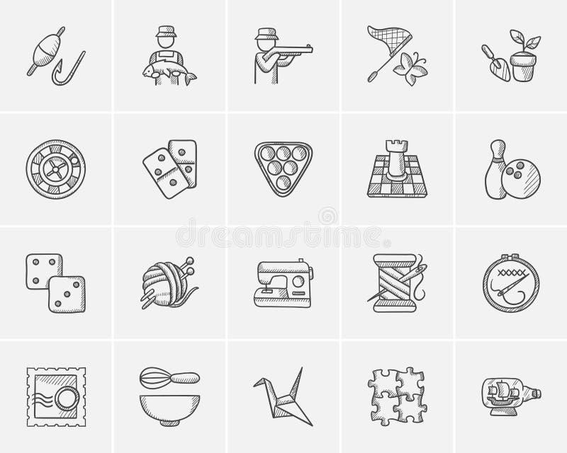 Hobbyen skissar symbolsuppsättningen royaltyfri illustrationer