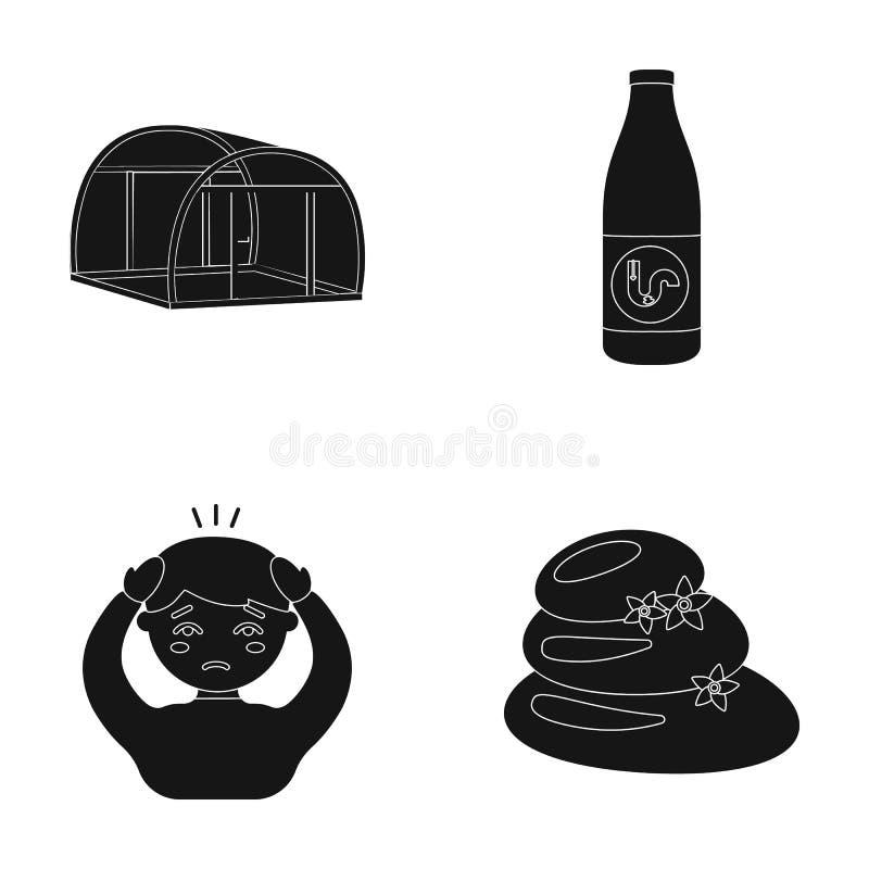 Hobbyer, medicin, apotek och annan rengöringsduksymbol i svart stil södra massage, hälsa, symboler i uppsättningsamling stock illustrationer