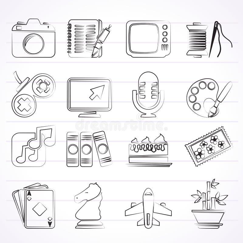 Hobbyer och fritidsymboler stock illustrationer