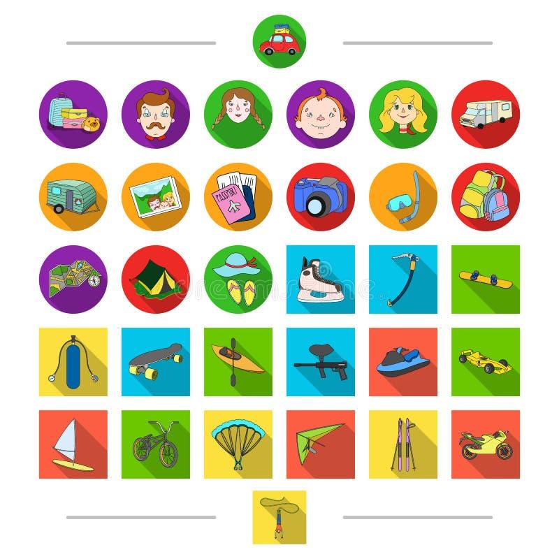 Hobbyer, turism, loppet och annan rengöringsduksymbol i tecknad film utformar Attribut transport, sportar, symboler i uppsättning royaltyfri illustrationer
