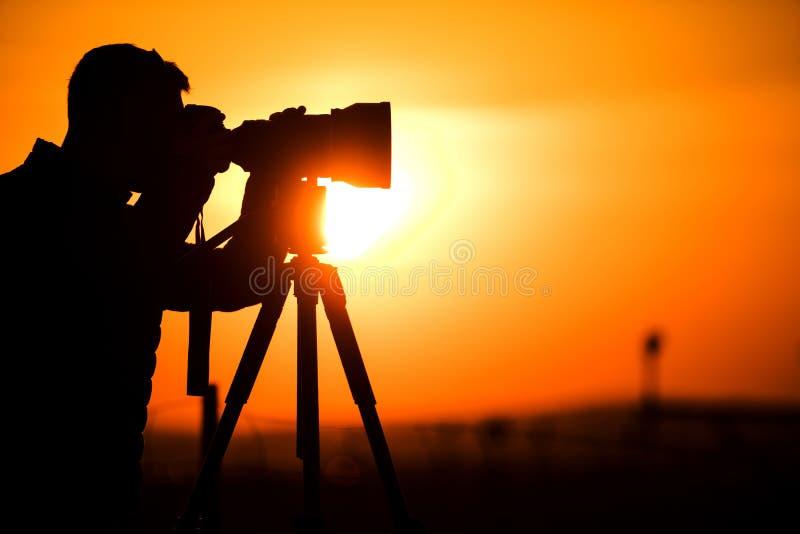 Hobbyist φωτογραφίας σκιαγραφία στοκ εικόνες