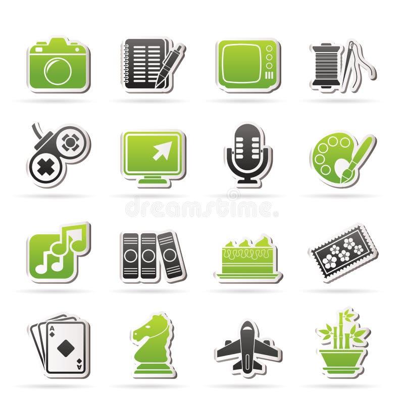 Hobbys en vrije tijdspictogrammen stock illustratie