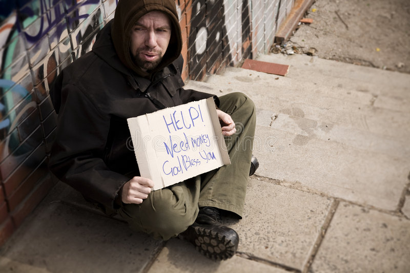 Download Hobo with placard stock photo. Image of color, grunge - 5333148