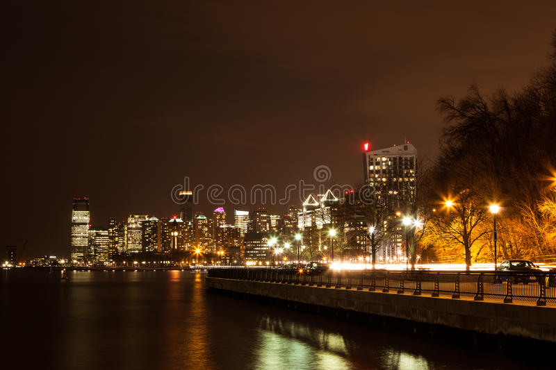 Hoboken Jersey City Skyline. HOBOKEN, NEW JERSEY - MARCH 11: The Hoboken and Jersey City skylines are lit up at night. Photo taken on March 11, 2016 stock images