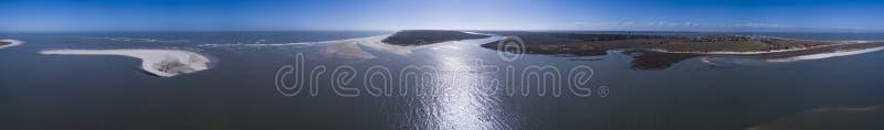 Hoch Antenne nahtloses Panorama von Inseln und von Ozean von 360 Grad herein stockfoto