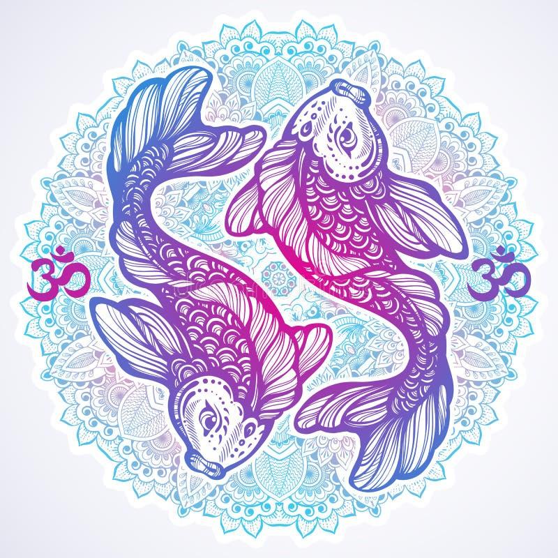 Hoch-ausführliche schöne Illustration von Karpfenfischen auf rundem Muster der Mandala Von Hand gezeichnete Vektorlinie Kunst lok vektor abbildung