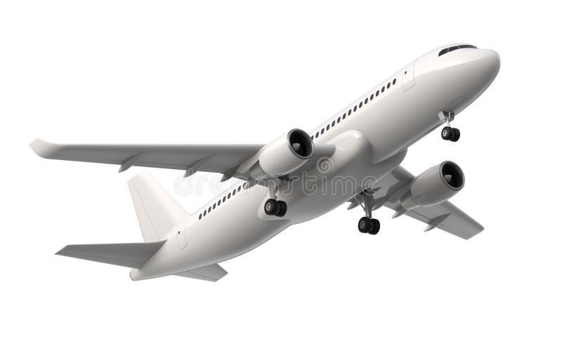 Hoch ausführliches weißes Passagierflugzeug, 3d übertragen auf einem weißen Hintergrund Flugzeug entfernen sich, lokalisierte Ill lizenzfreie abbildung